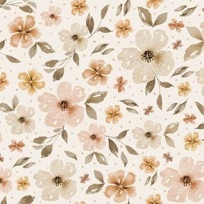 Country Florals - Neutral - watercolor flowers