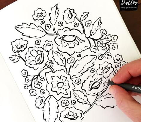 Prairie Garden - Hand Drawn Floral - Moss Green Large Scale