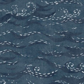 Sashiko Sea in Indigo Blue (large scale) | Japanese stitch patterns on a faded dark blue linen texture, ocean surf, waves pattern on vintage blue.