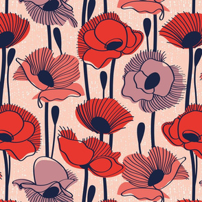 Field of poppies // normal scale // rose background neon red orange shade coral and dry rose wildflowers oxford navy blue line contour
