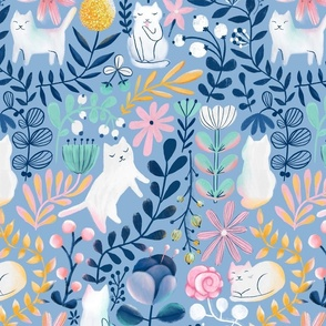 Big. Spring white cats. Summer kitties pattern.  Flowers and leaves.