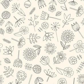 Hand Drawn Botanicals on Cream