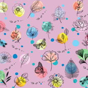 Abstract Garden - on pink background
