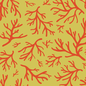 Abstract Coral in Red on Acid Green - Medium