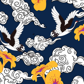 Japanese Clouds and Cranes No.1 Navy Blue