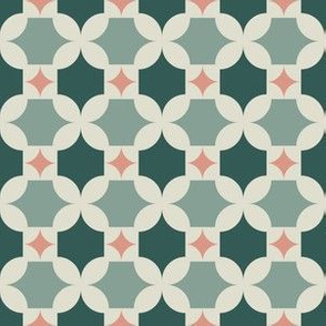 Mid-Century Geometric - Teal and Pink