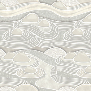 Zen Garden Beige- Meditating at the Japanese Rock Garden- Mindful- Calm- Greige- Taupe Small
