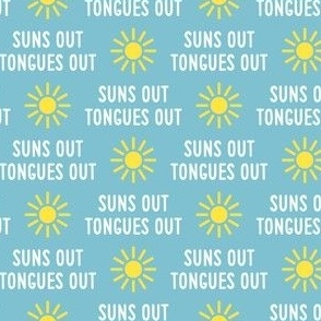 suns out tongues out - fun summer dog fabric - blue - LAD21