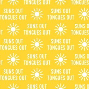 suns out tongues out - fun summer dog fabric - yellow - LAD21