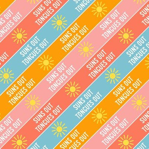 suns out tongues out - fun summer dog fabric - sunset - LAD21
