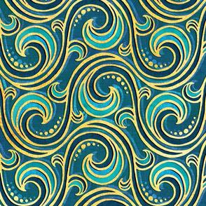 Modern Rococo Mermaid Ocean Waves - large