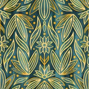 Rococo Gold Enamel Art Deco - Large Scale