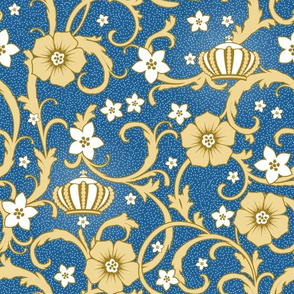 Royal Rococo, Crown, Gold flowers on a dark blue background