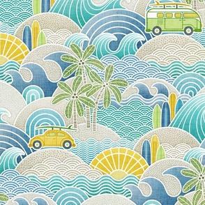 Sea, Sun and Surf Medium- Beach Life- Surfing Life- Surfboard- Vintage Cars- Summer- Boys- Home Decor