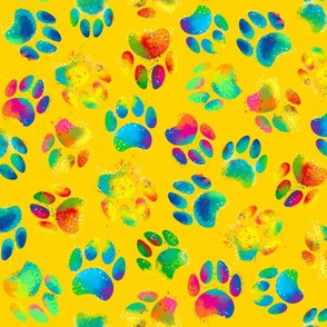 Colorful Paw @ yellow bg