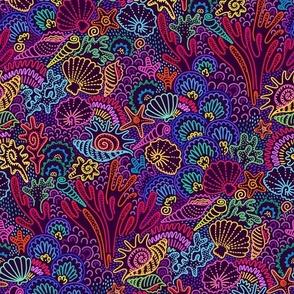 Seashells underwater purple