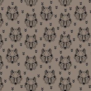 Geometric Wolf (putty) Geo Wolves Woodland Animals Baby Boy Nursery Bedding, smaller scale