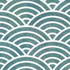 Japanese Waves Teal Medium- Scalloped Rainbow- Geometric Minimalist- Art Deco