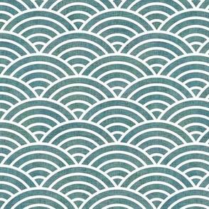 Japanese Waves Teal Minil- Scalloped Rainbow- Geometric Minimalist- Art Deco