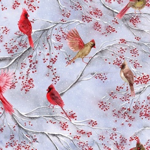 cardinal birds on a winter tree with red berries, snowflakes,