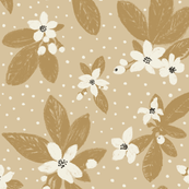 Large Boho Floral w Dot - honey & black