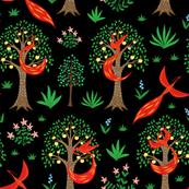 Firebird in an apple tree garden, flying birds,  phoenix