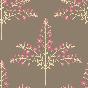 Pashmina - Delicate Floral Grasses in Pink Cream Brown - LARGE-Scale - UnBlink Studio by Jackie Tahara