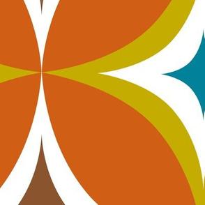 Astral - Mid Century Modern Geometric - Burnt Orange Citron Teal Brown - Jumbo Scale