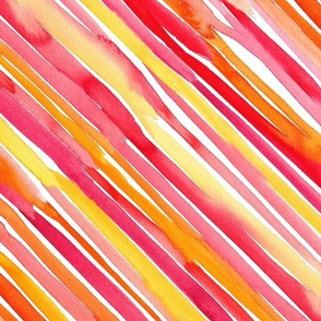 Watercolor pink and orange stripes