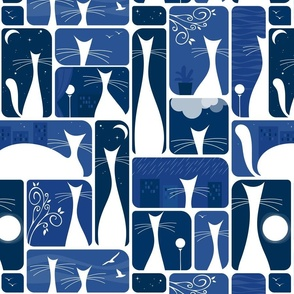 cats in my window at night - white cats on blue - cats fabric