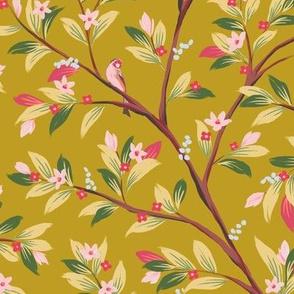 Goldfinch in Magnolias in Gold and Fuscia