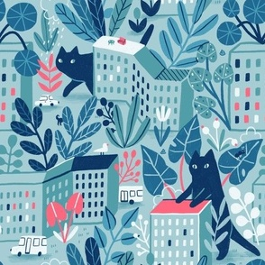 Giant cats in the city. Cute navy pet, buildings and home plants