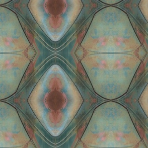 Smaller patina on old car closeup with kaleidoscope repeat multi color