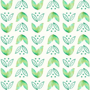 Groovy Watercolor Leaves // Green