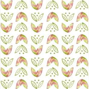 Groovy Watercolor Leaves // Peach & Green