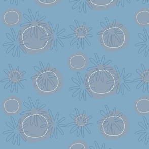 Grey dots and blue  flowers