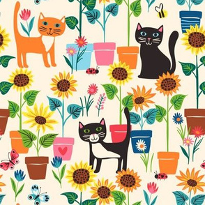 Garden cats and pots