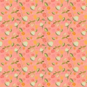 Peony Buds Abound Pattern on  Melon
