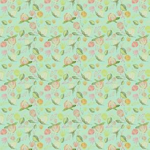 Peony Buds Abound Pattern on Mint