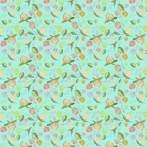 Peony Buds Abound Pattern on Mint Blue