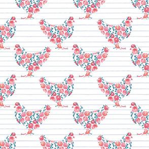 Floral Chicken Hens