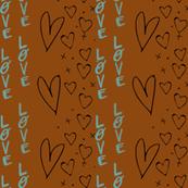 Stripe love earthy brown valentine hearts