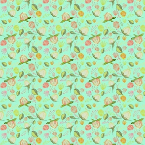 Peony Buds Abound Pattern on Mint Green