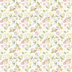 Peony Buds Abound Pattern on White