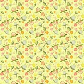 Peony Buds Abound Pattern on  Pale Yellow