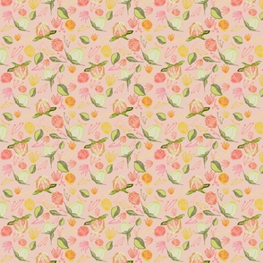 Peony Buds Abound Pattern on Rose
