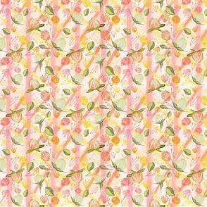 Peony Buds Abound Pattern on Plaid Background