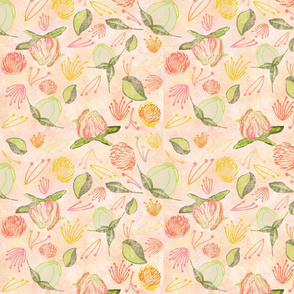 Peony Buds Abound Pattern with Distressed Background