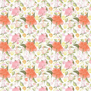 Peonies Abound Pattern in Blush and Pastel Coral