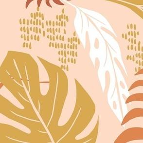 Paradiso - Tropical Palm Fronds - Boho Golden Blush Jumbo Scale